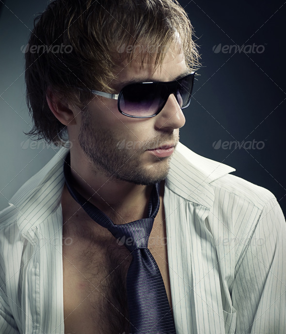 Stylish Fashion Young Man Portrait - Stock Photo - Images