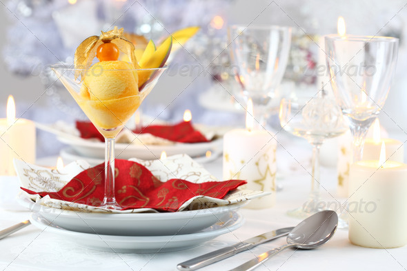 Mango sorbet for Christmas - Stock Photo - Images