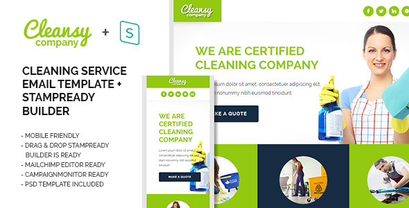 cleansy cleaning service purpose e mail template by webelemento themeforest. Black Bedroom Furniture Sets. Home Design Ideas