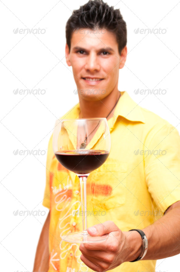 drinking wine - Stock Photo - Images