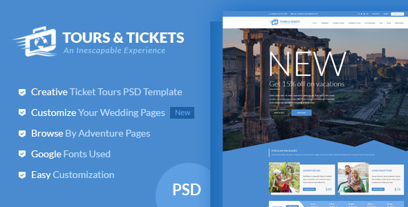 Tours Tickets Creative PSD Template by diadea3007 – Ticket Template for Pages
