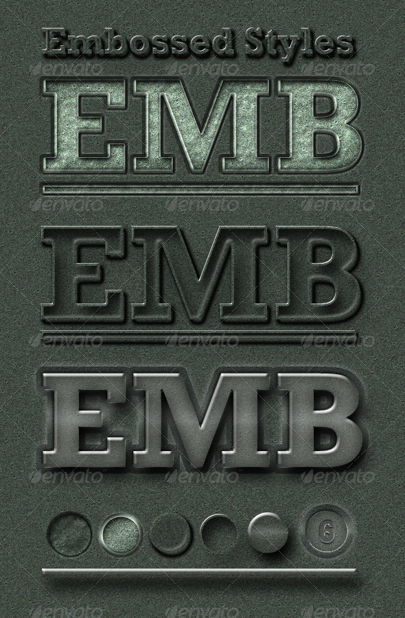 Embossed 3D-Look Styles - Text Effects Styles