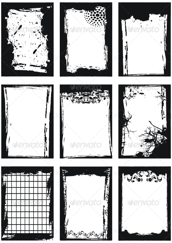 GraphicRiver Set of Grunge frames 89609