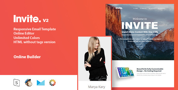 Invite responsive email template online editor by for Free email invitation template