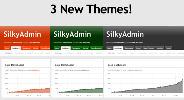 Silky Admin - The new theme choices are Orange, Dark Green and Grey!