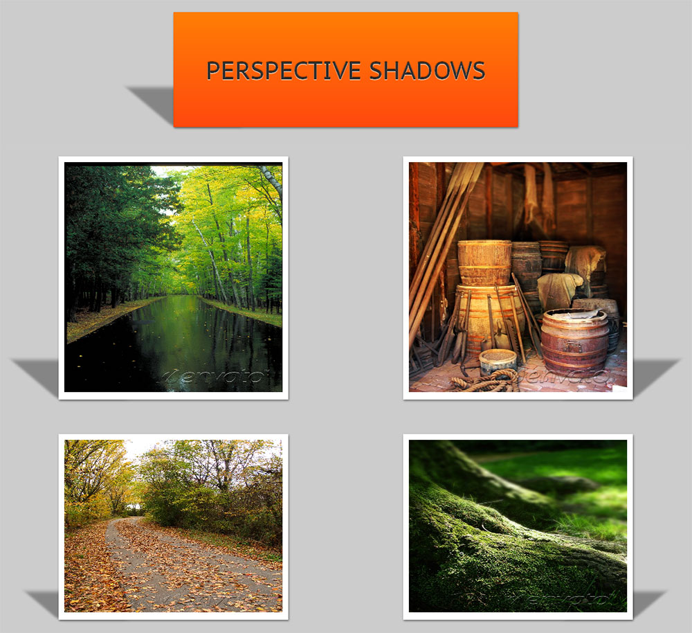 CSS3 Shadow Pack - Perspective Shadow Effect. Left & Right Perspective shadow styles are included.