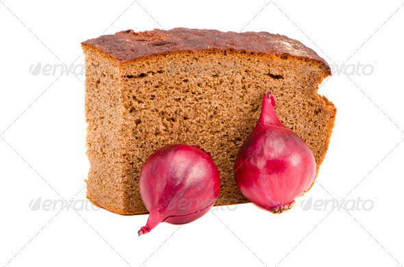 isolated bread and two common onion - Stock Photo - Images