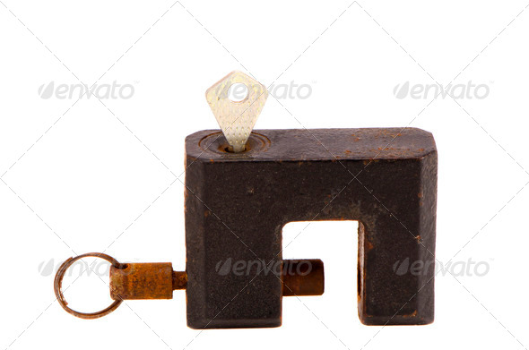 isolated rusted black lock with key - Stock Photo - Images