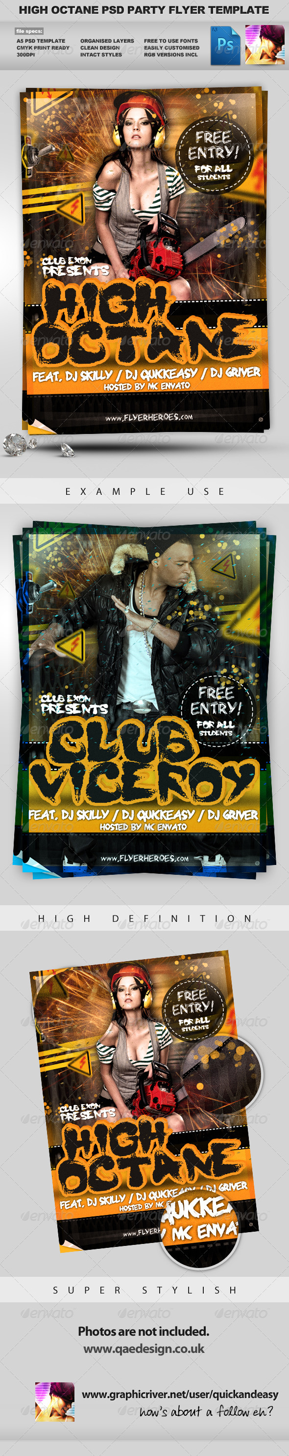 High Octane Flyer Template - Clubs & Parties Events