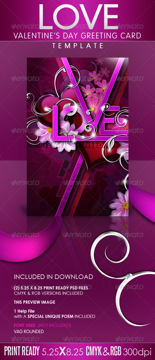 GraphicRiver LOVE Valentine s Day Greeting Card Template 1217743