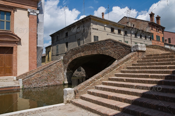 Cops bridge. Comacchio. Emilia-Romagna. Italy. - Stock Photo - Images