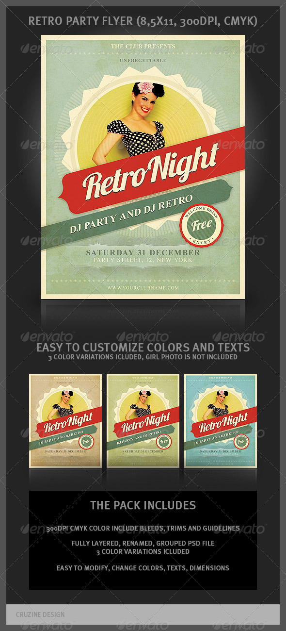 Retro Party Flyer - Clubs & Parties Events