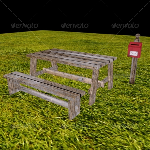 3DOcean Low Poly Table Bench and Mailbox 148834