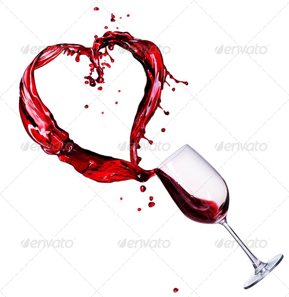 Glass Of Red Wine Abstract Heart Splash - Stock Photo - Images