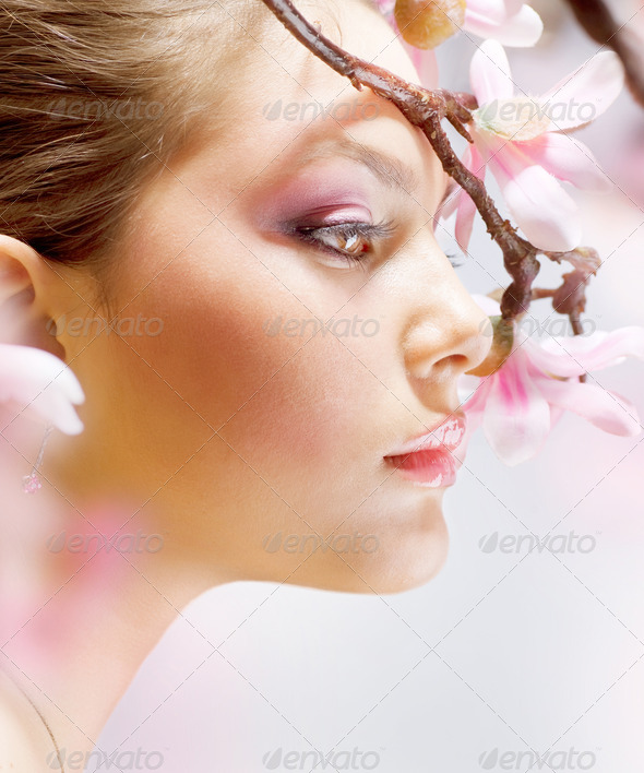 Beautiful Girl With Flower - Stock Photo - Images