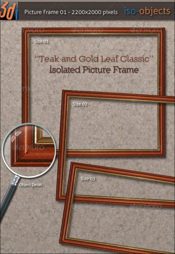 HiRes Picture Frame - Teak Wood / Gold Leaf - Home & Office Isolated Objects