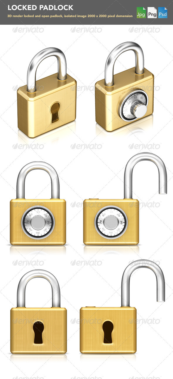 collection of padlock  - Objects 3D Renders
