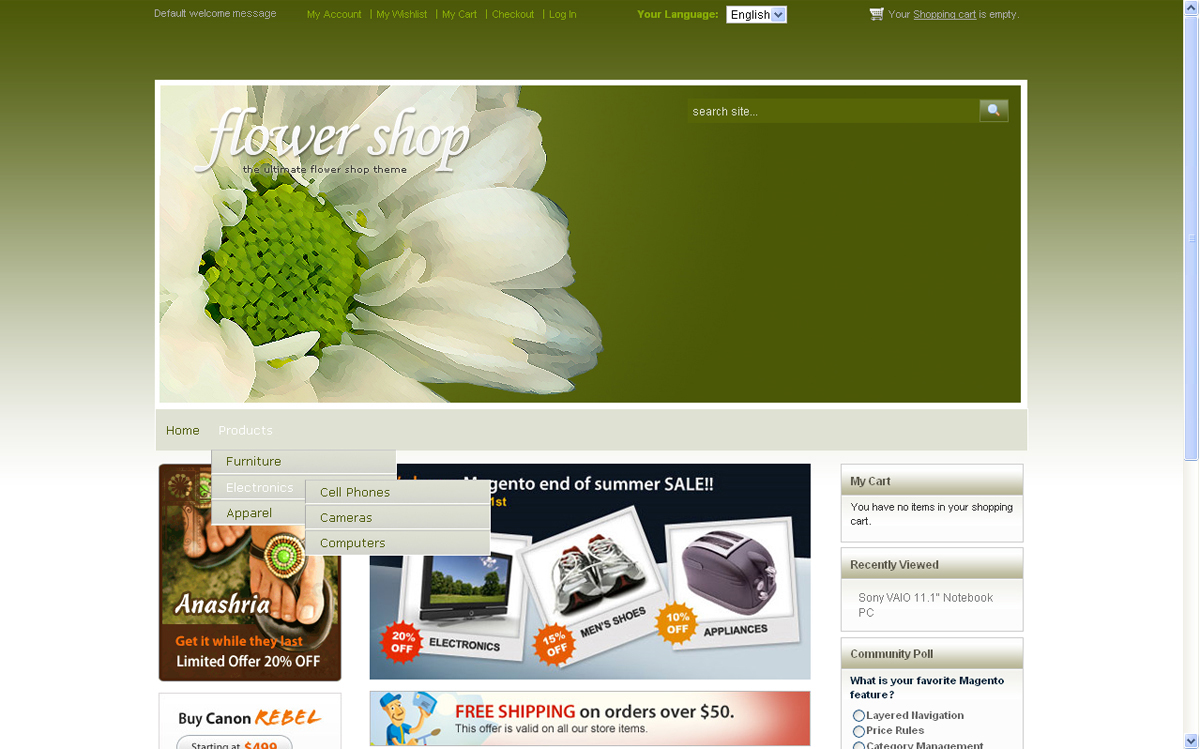 Flower Shop - very stylish template for magento e-commerce.