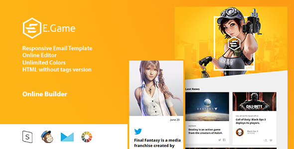 EGame Responsive Email Template Online Editor by Zay01 – Responsive Email Template