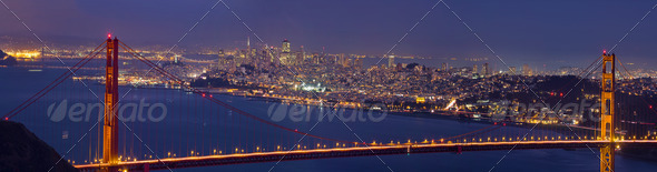 Golden Gate Bridge over San Francisco Bay - Stock Photo - Images