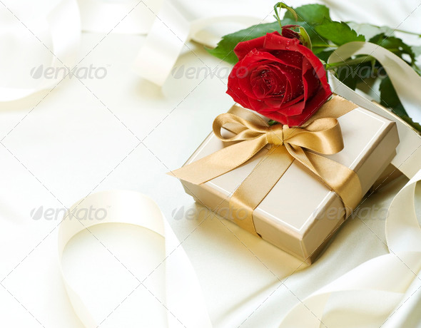Wedding Or Valentine Gift Over White Silk - Stock Photo - Images