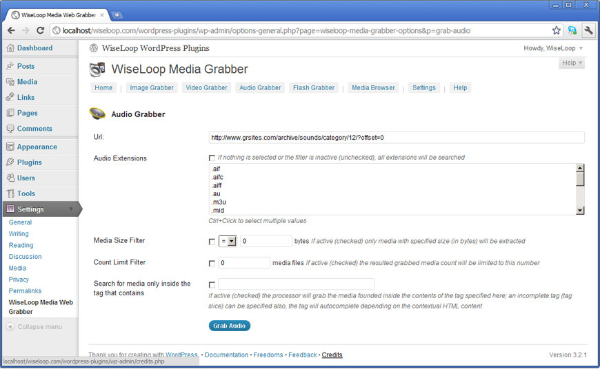 Web Media Grabber WordPress Plugin  - The Audio Grabber is designed to download audio files referred or contained by a target URL page. It uses the advanced extraction and filter engine to search the target URL page for audio links by checking its a href tags.