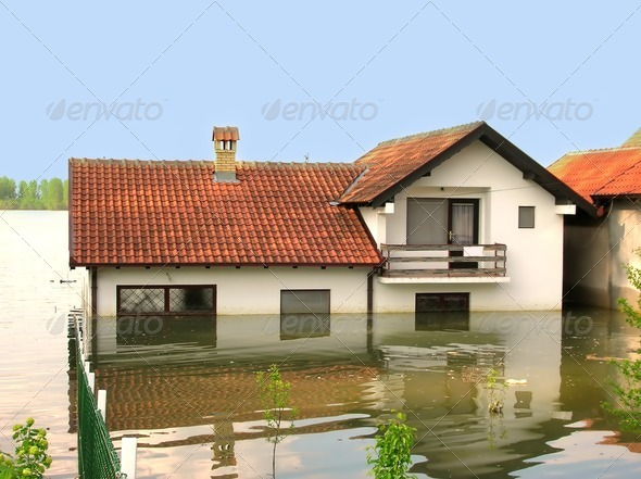 PhotoDune Flood house in water 1240391