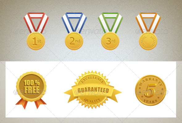 Guarantee and Warranty Gold Seal and Medals - Objects Illustrations