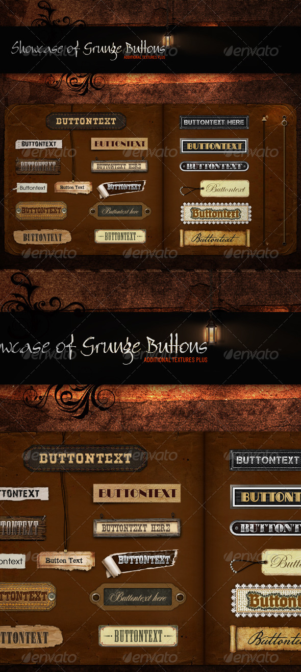 Showcase of Grunge Buttons - Buttons Web Elements