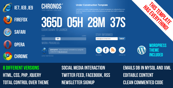 Chronos Under Construction Template + WP Theme - Theme preview.