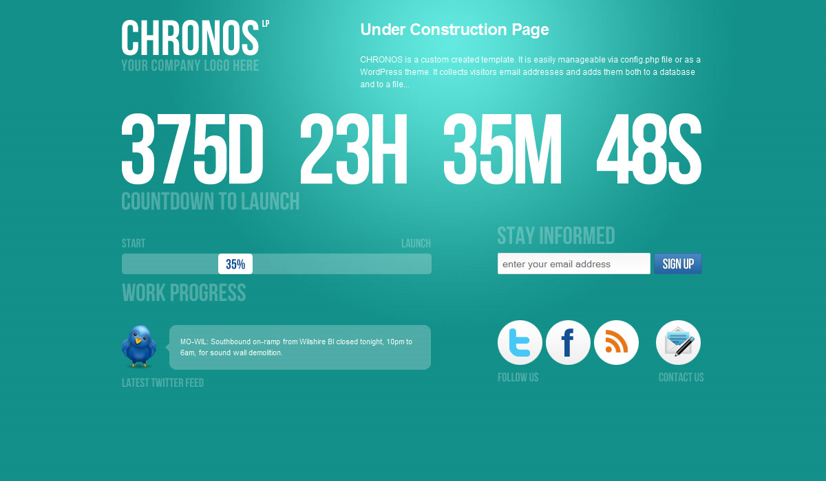 Chronos Under Construction Template + WP Theme - Seagreen version.