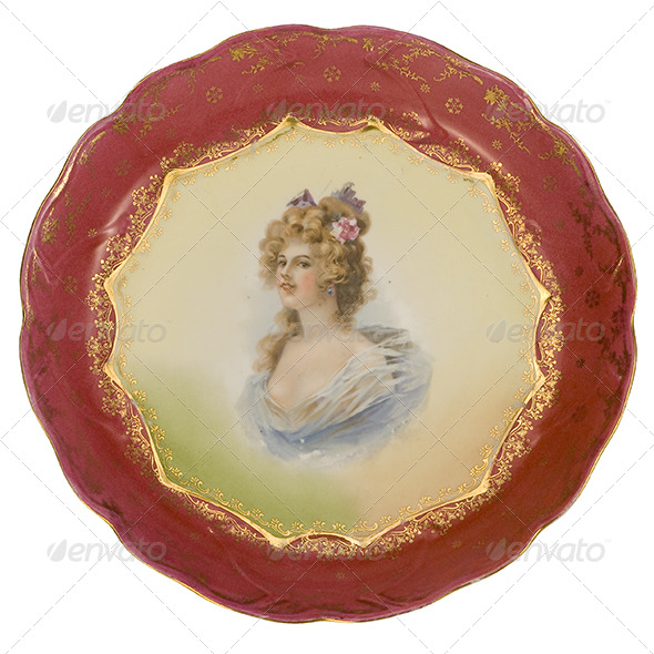 Painted Antique Plate - Home & Office Isolated Objects