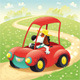 Funny Dog in a Car - GraphicRiver Item for Sale