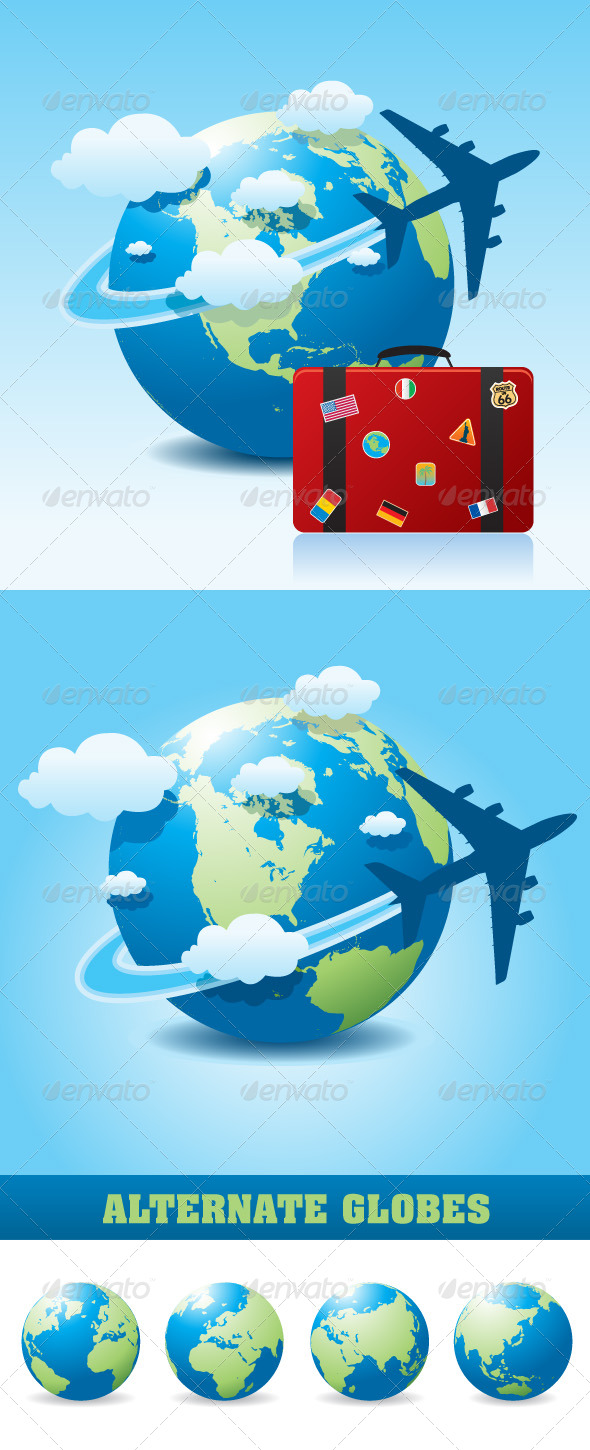 Airplane Travel on Globe - Travel Conceptual