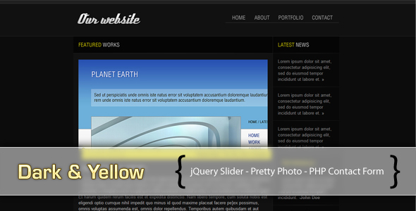 ThemeForest Dark & Yellow 50439
