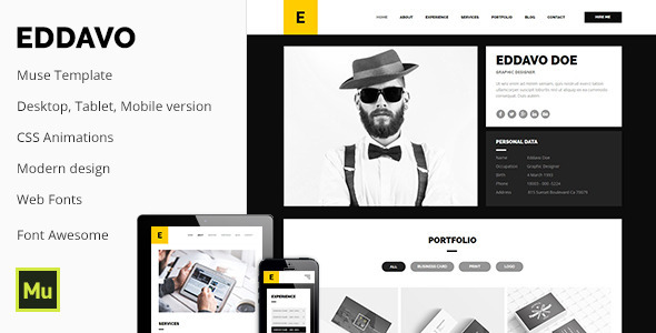 eddavo agency portfolio cv resume template muse templates