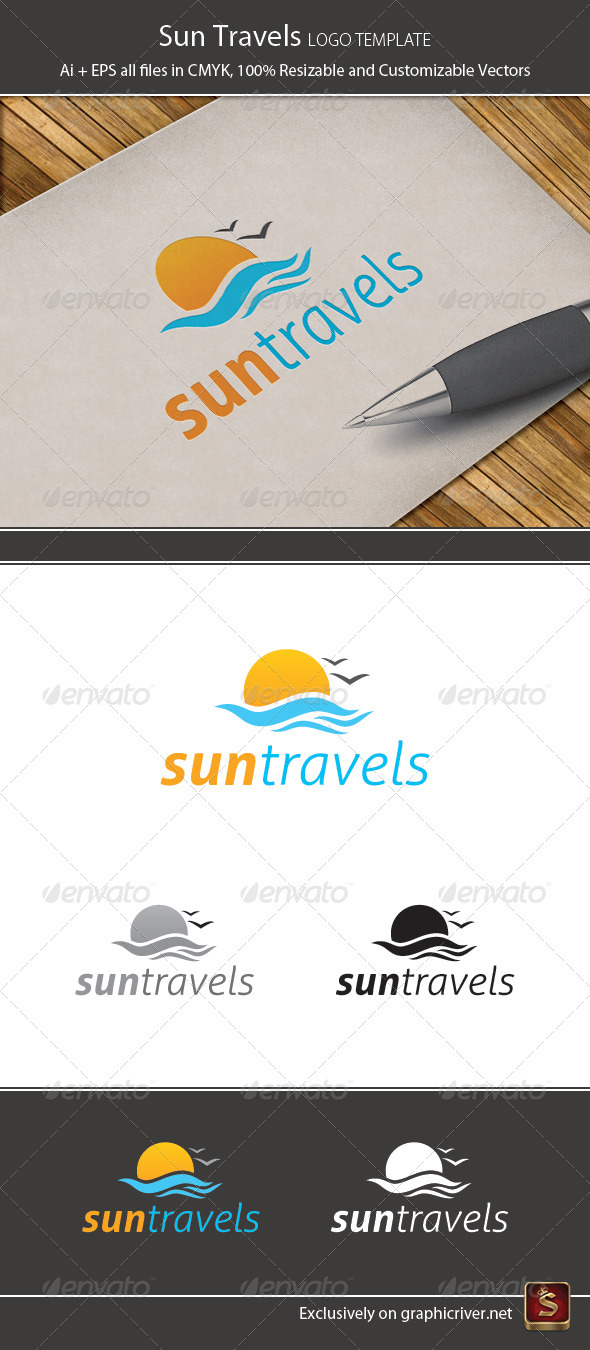 Sun Travels Logo Template - Vector Abstract