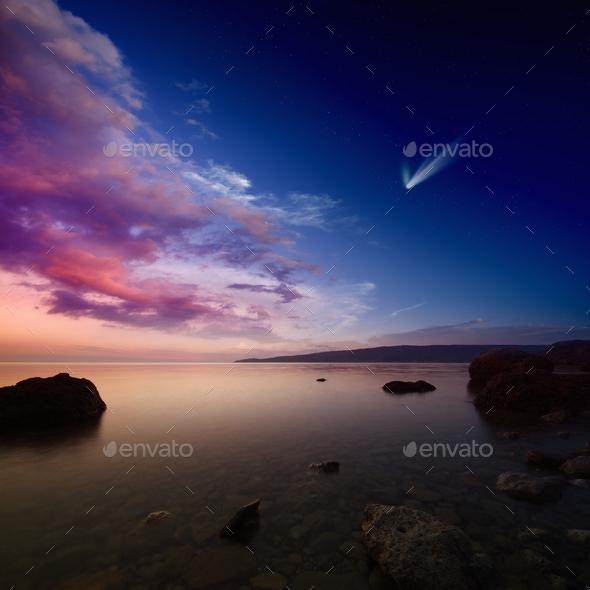 Comet Sky Comet in Sunset Sky Stock