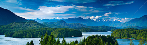 Panoramic view of Tofino, Vancouver Island, Canada - Stock Photo - Images