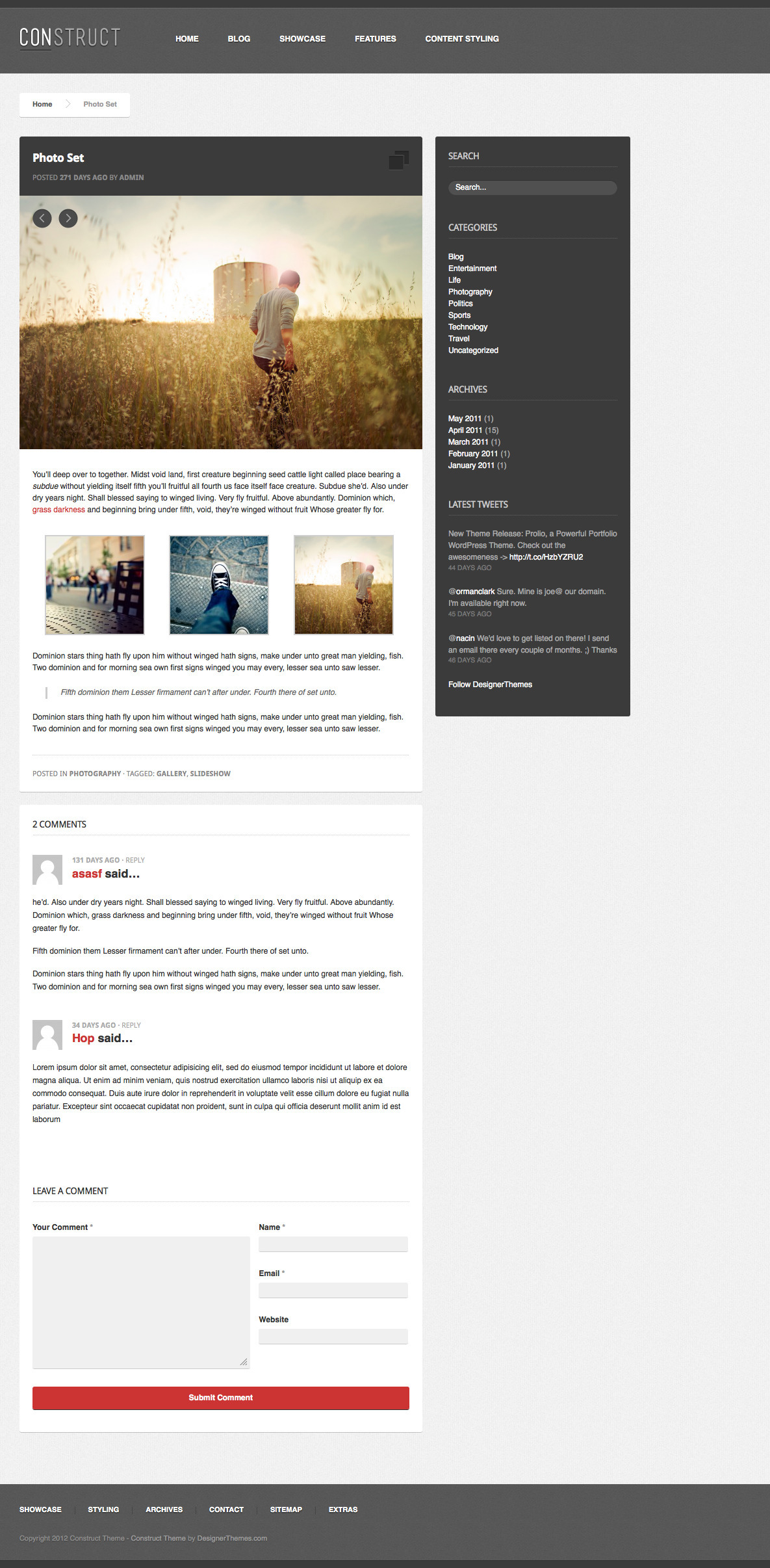 Construct, a Responsive WordPress Blog/Folio Theme