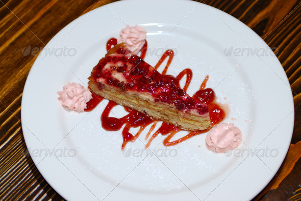 sweet berry pie on white plate - Stock Photo - Images