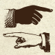 Vintage vector pointing hands - GraphicRiver Item for Sale
