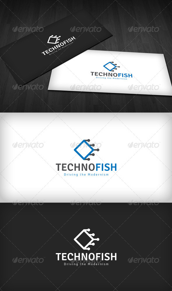Techno Fish Logo - Vector Abstract