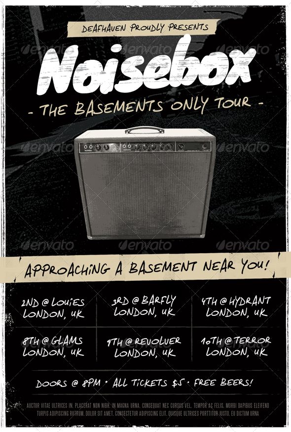 Noisebox - Grunge Flyer Template - Concerts Events