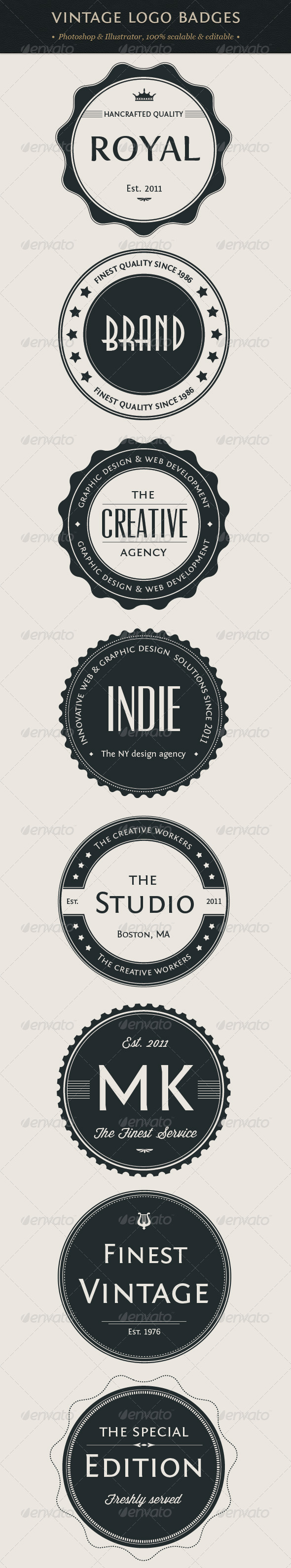 Vintage Logo Badges Set - Badges &amp; Stickers Web Elements