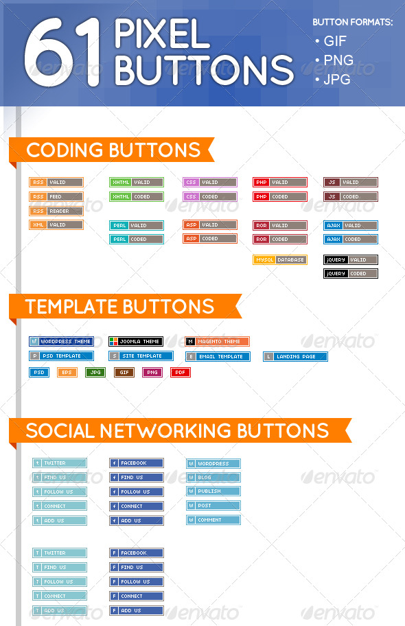 GraphicRiver 61 Pixel Buttons Web Elements 153288