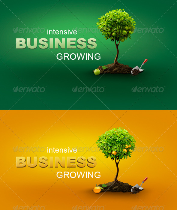 Conceptual Business Illustration With Trees - Business Illustrations