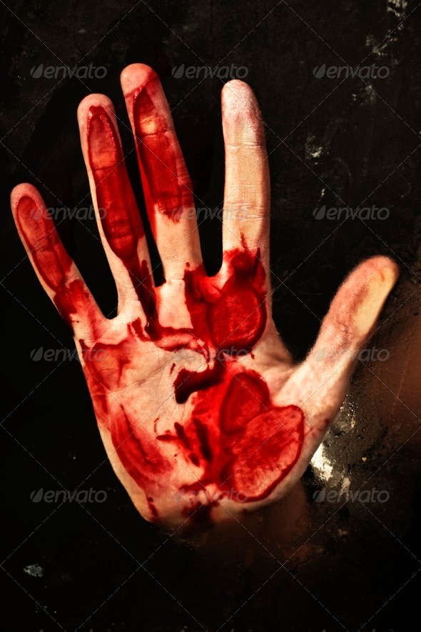 Human hand with blood - Stock Photo - Images