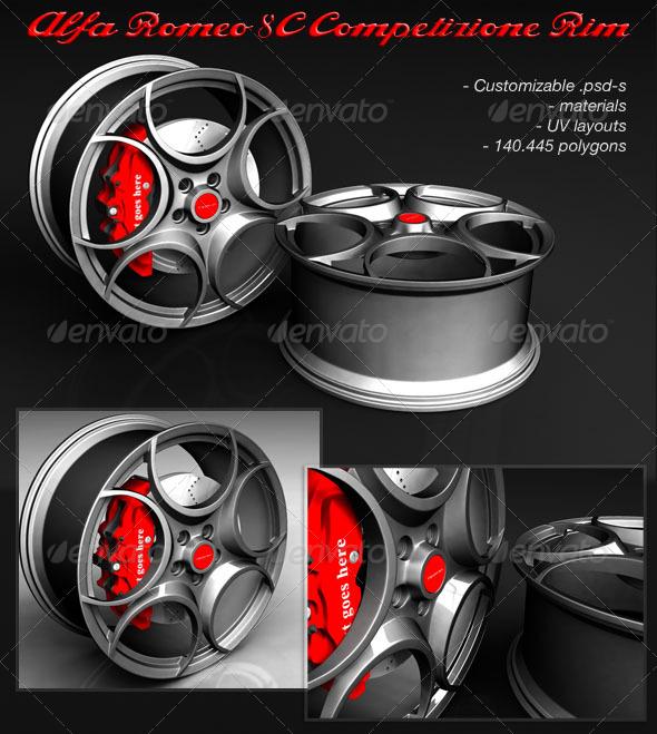 3DOcean Alfa Romeo 8C Competizione RIM in Maya 153631