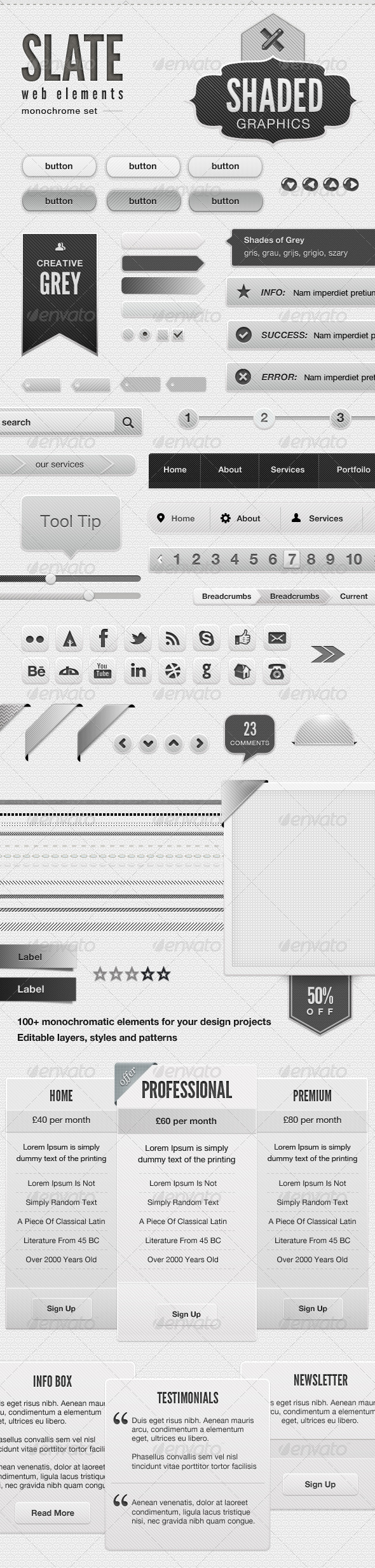 Slate - Shades Of Grey Web Elements - User Interfaces Web Elements